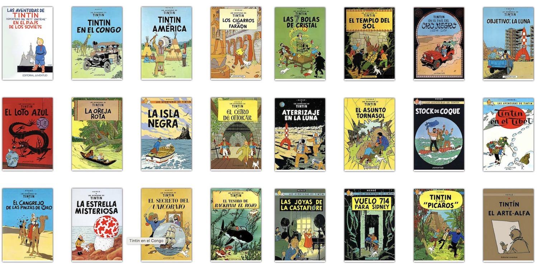 Portadas de los libros de las Aventuras de Tintín