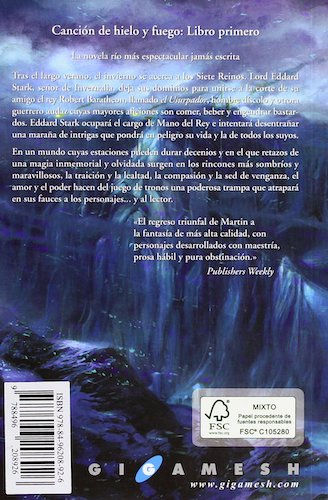 sinopsis Canción de hielo y fuego 1: Juego de Tronos